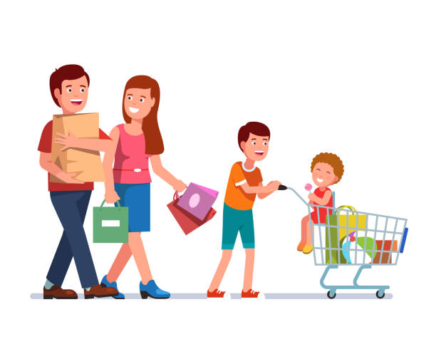 ad1b5e181fde1 Father and mother walking carrying shopping bags with son pushing trolley  cart full of purchased goods. Colourful baby stroller vector illustration  ...