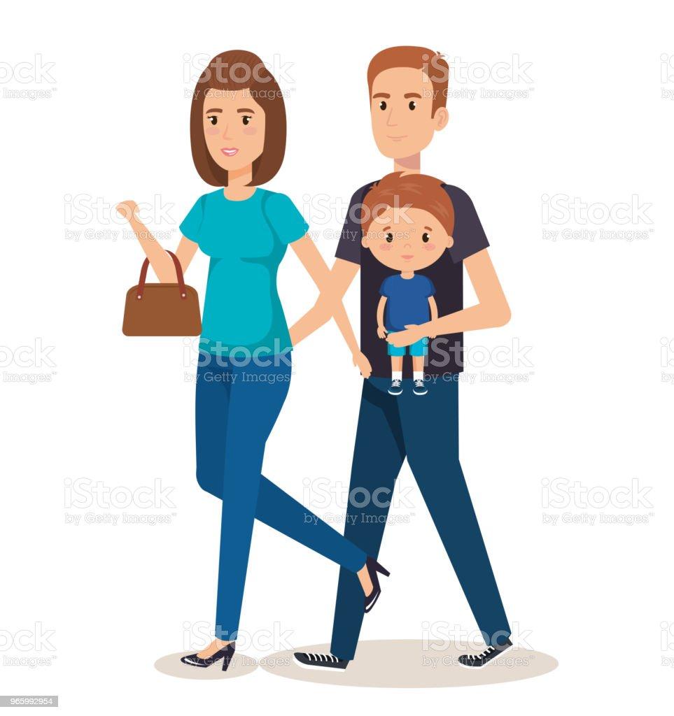 Vater und Mutter mit Sohn - Lizenzfrei Baby Vektorgrafik