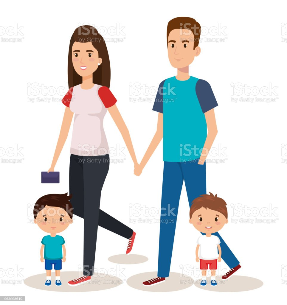 father and mother with sons - Royalty-free Adult stock vector