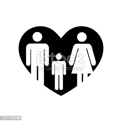 Father And Mother With Their Son In A Heart Symbol Of Familiar Love