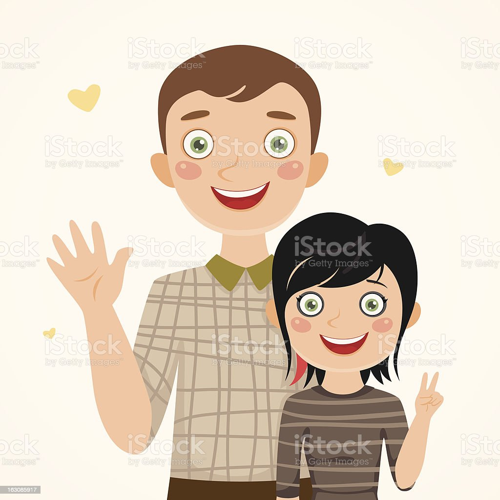 Father and rocker daughter royalty-free stock vector art