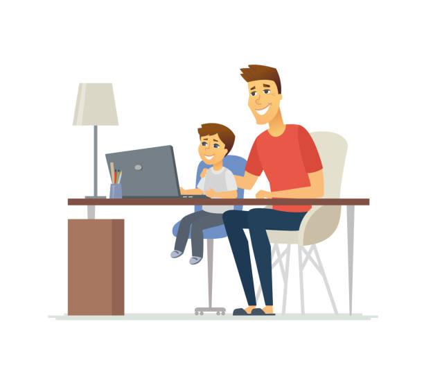 bildbanksillustrationer, clip art samt tecknat material och ikoner med far och son på den bärbara datorn - tecknad personer tecken illustration - pappa son