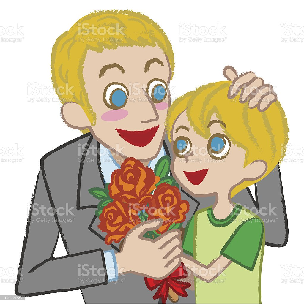 Father and son - blond royalty-free stock vector art