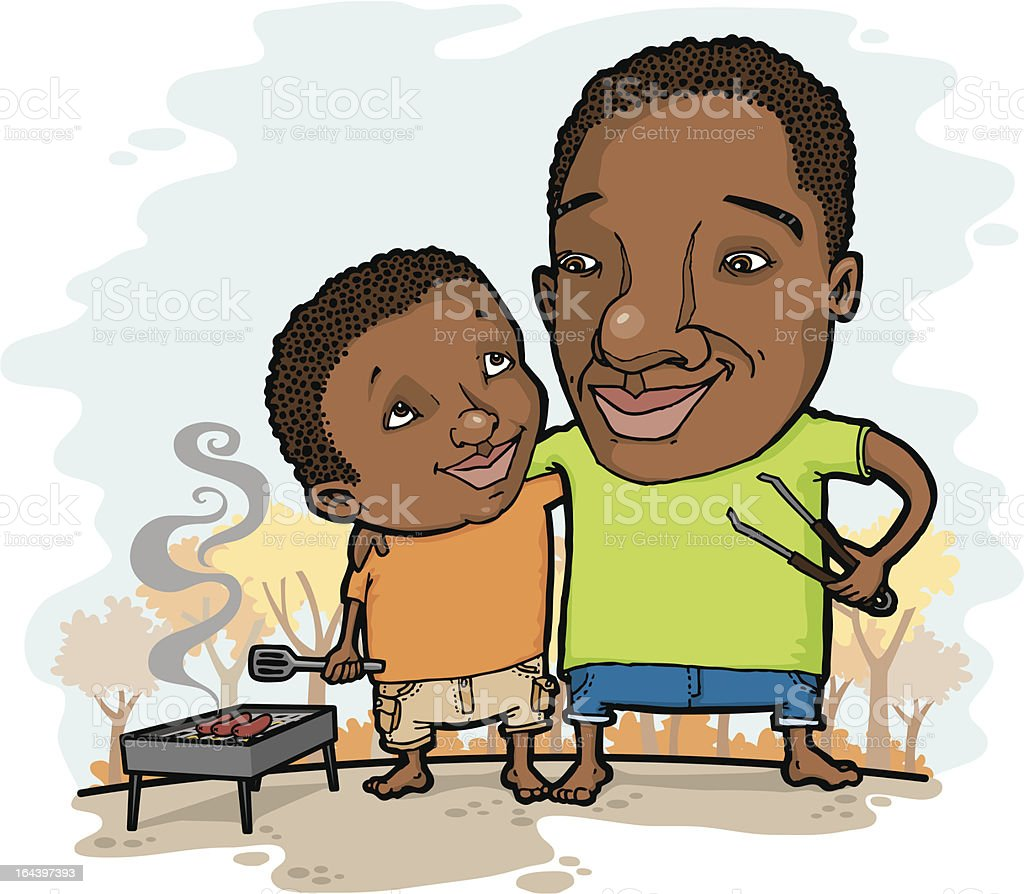 Father and Son bonding while barbequing in the fall vector art illustration