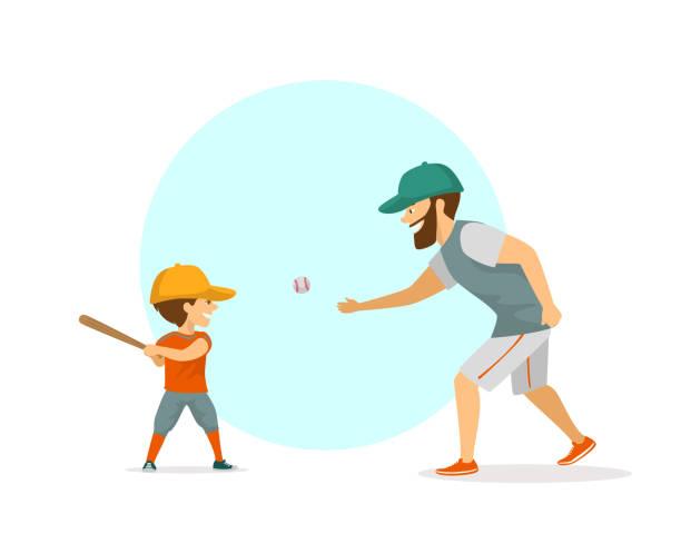 ilustraciones, imágenes clip art, dibujos animados e iconos de stock de padre y el hijo, el muchacho y el hombre jugar ilustración de vector de escena de béisbol - hijo