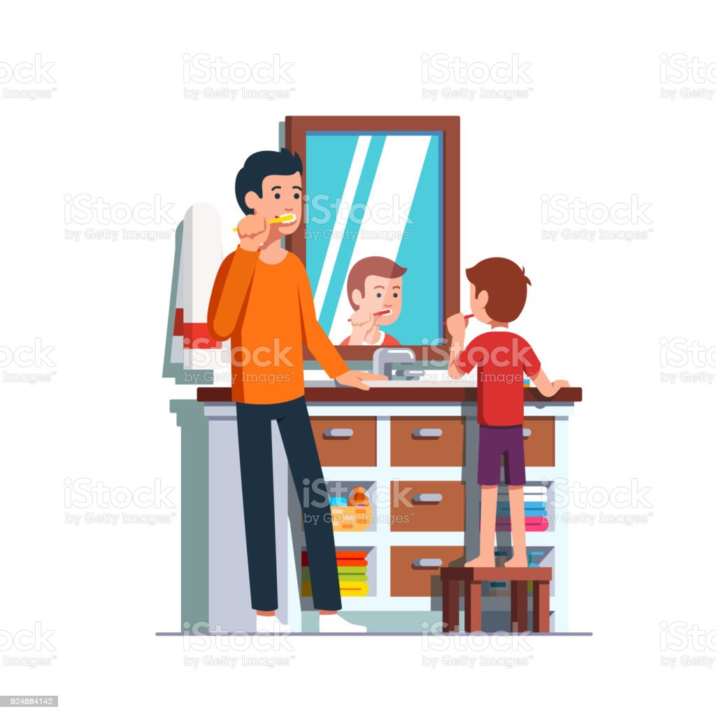 Father and son brushing teeth together in bathroom vector art illustration