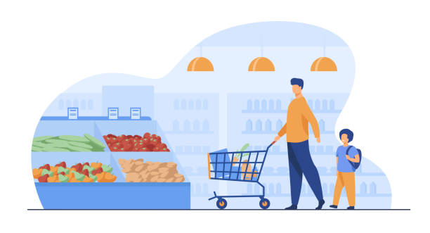 Father and son buying food in supermarket Father and son buying food in supermarket. Young man and boy wheeling shopping cart with food along aisles in grocery store. Vector illustration for market, retail, shoppers, customers concept grocery aisle stock illustrations