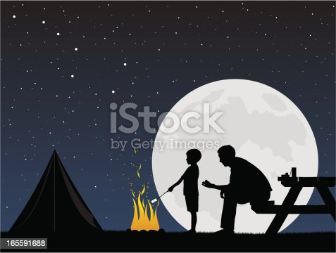 Father and son camping while cooking marshmallows