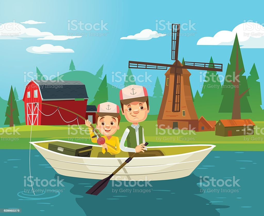 Father and son characters fishing. Vector flat cartoon illustration vector art illustration