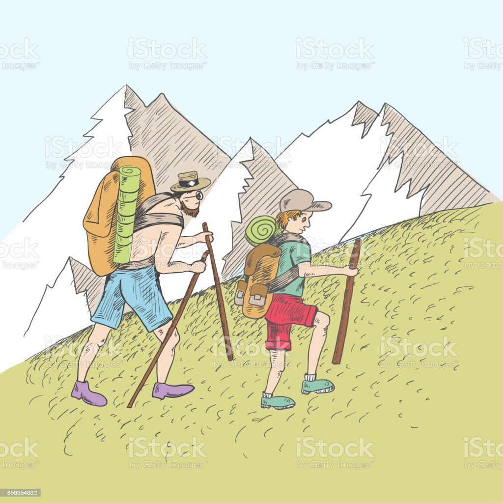 Father and son climb the hill. vector art illustration