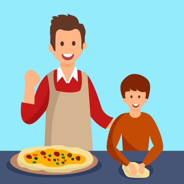illustrazioni stock, clip art, cartoni animati e icone di tendenza di father and son cooking dinner vector illustration - impastare