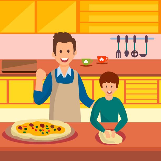 illustrazioni stock, clip art, cartoni animati e icone di tendenza di father and son cooking pizza vector illustration - impastare