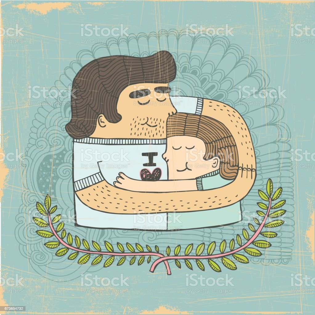 Father and son embrace vector art illustration