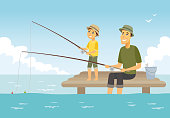 Father and son fishing - cartoon people characters illustration. Composition with young parent and his kid sitting on a pier with fish rods and a basket, having a good time together. Family concept