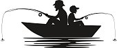 father and son fishing on boat on a lake silhouette
