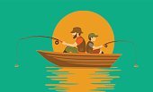 father and son fishing on boat on a lake