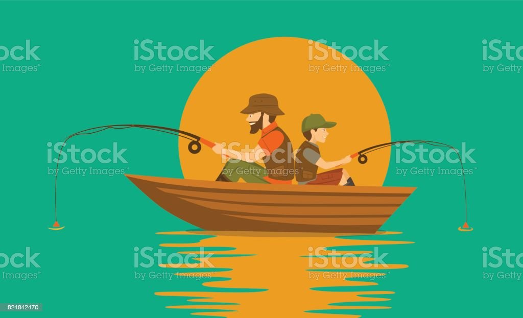 father and son fishing on boat on a lake vector art illustration