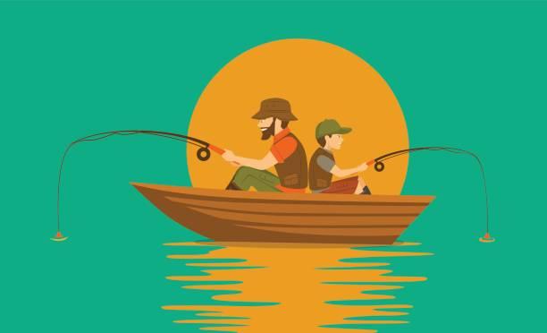 Vater und Sohn auf Boot auf einem See angeln – Vektorgrafik