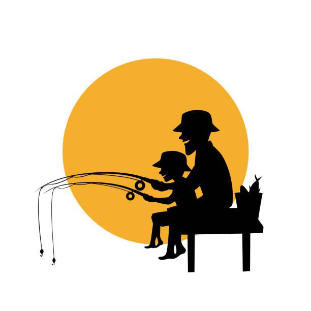 Vater und Sohn gemeinsam Fischen isoliert Vektor-Illustration-Silhouette-Szene – Vektorgrafik