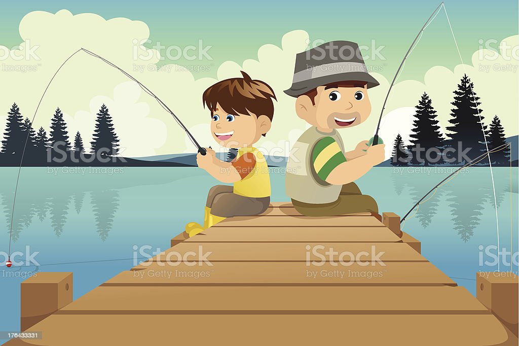 Father and son going fishing in a lake vector art illustration