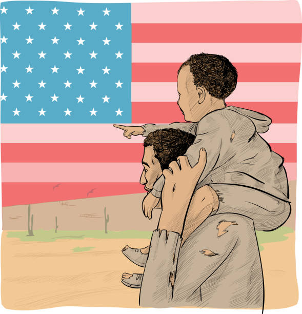 father and son immigrant in front of the USA flag vector art illustration