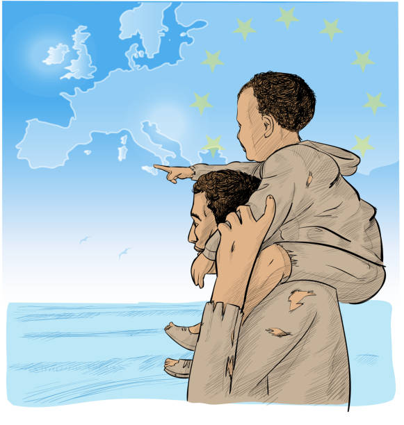 father and son immigrants in front of the European map vector art illustration