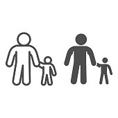 Father and son line and solid icon, 1st June children protection day concept, Parent and kid sign on white background, Dad with child icon in outline style mobile and web design. Vector graphics