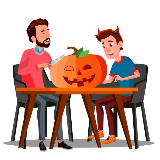 Father And Son Making A Pumpkin For Halloween Vector. Isolated Halloween Illustration Father And Son Making A Pumpkin For Halloween Vector. Halloween Illustration carving craft activity stock illustrations