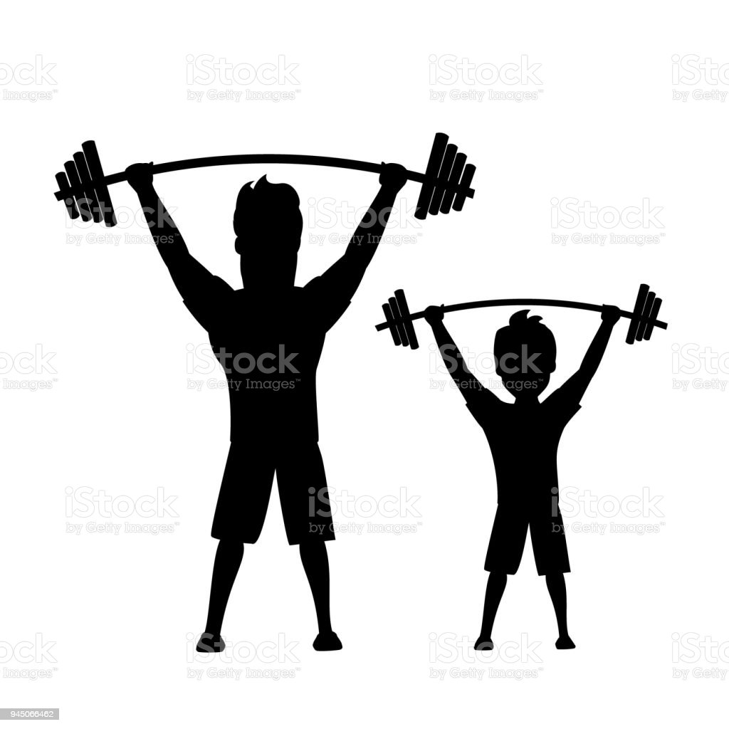 father and son, man and boy exercising together vector illustration isolated  silhouette scene vector art illustration