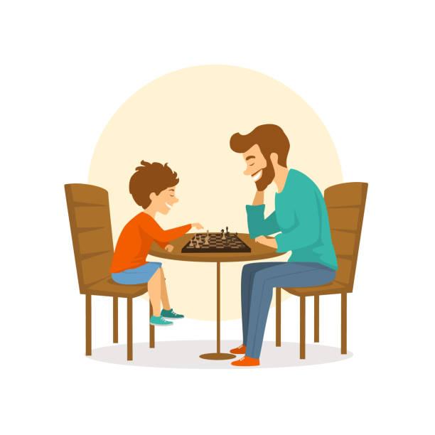 ilustraciones, imágenes clip art, dibujos animados e iconos de stock de padre, hijo, hombre y niño jugando al ajedrez juntos, diversión aislada escena de ilustración vectorial - hijo