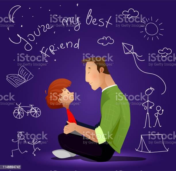Far Och Son På Blå Bakgrund-vektorgrafik och fler bilder på Barn
