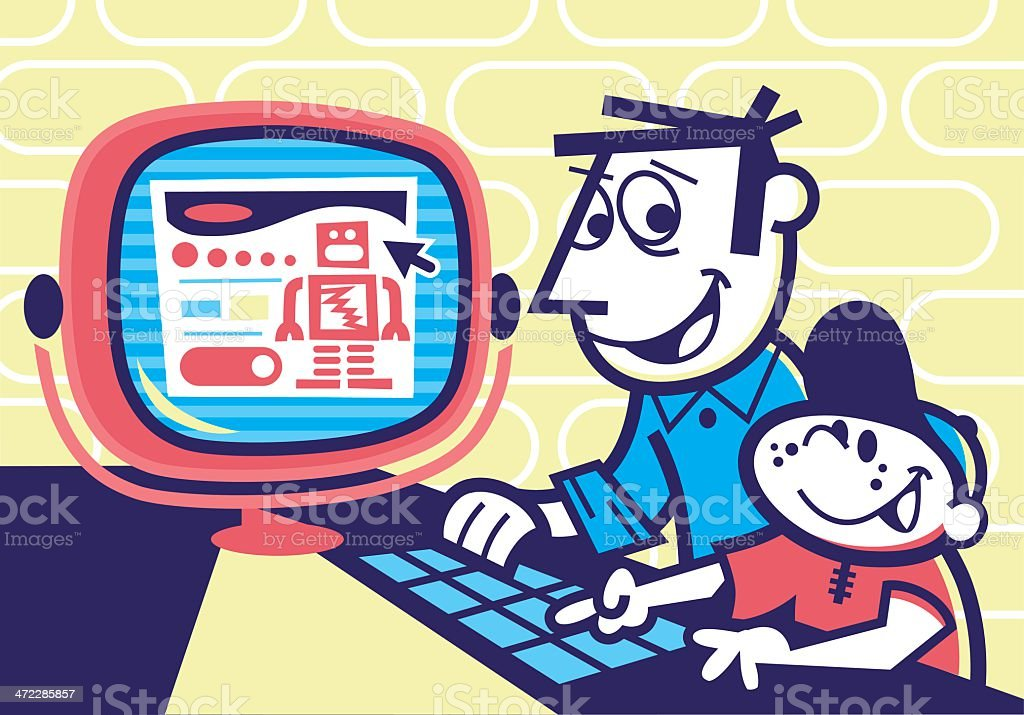 father and son on computer vector art illustration