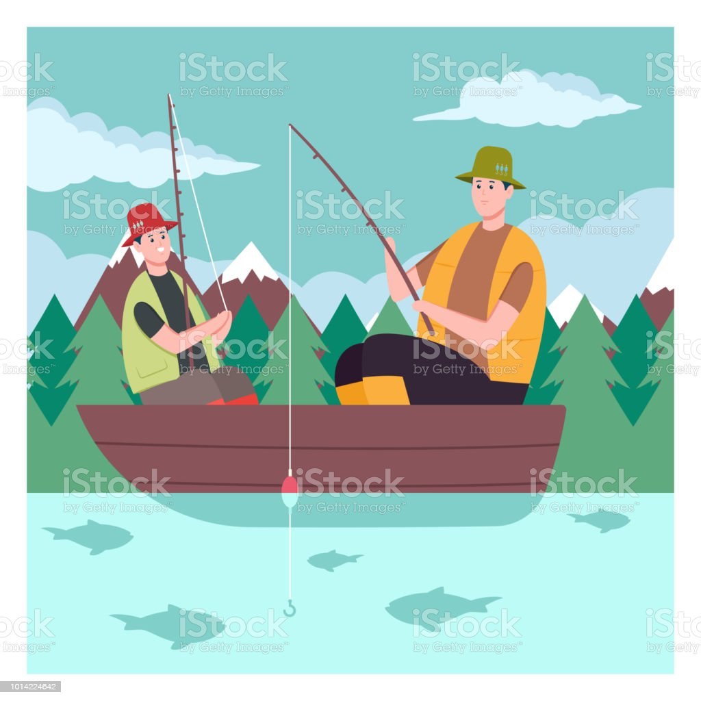 father and son on the boat fishing on the lake fisherman vector cartoon illustration on a background of mountains and forest stock illustration download image now istock father and son on the boat fishing on the lake fisherman vector cartoon illustration on a background of mountains and forest stock illustration download image now istock