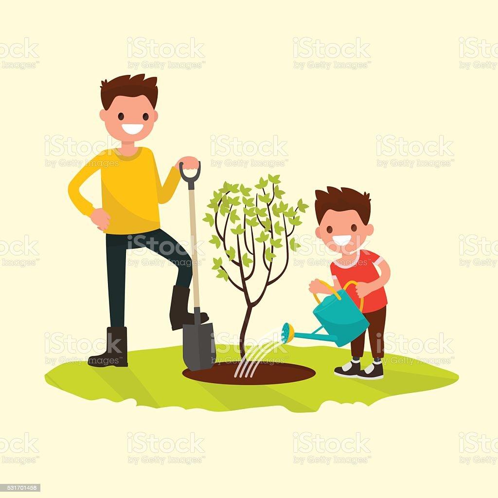 Pai e filho de plantio de árvores. Ilustração vetorial - ilustração de arte em vetor