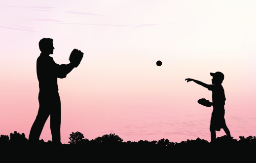 Father and Son Play Catch