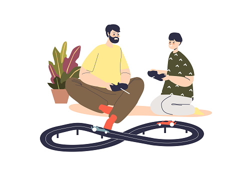 Father and son play racing with remote control cars. Dad and little kid hold radio controllers to toy vehicles. Men pastime with automobile concept. Cartoon flat vector illustration