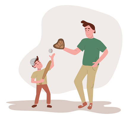 Father and son playing baseball. Flat design illustration. Vector