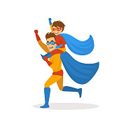 father and son playing superheroes dressed in costumes running together, boy sitting on dads back shoulders , funnny fathers day isolated vector illustration scene