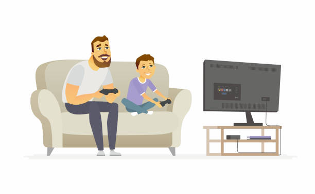 ilustrações de stock, clip art, desenhos animados e ícones de father and son playing video games - cartoon people characters illustration - man joystick