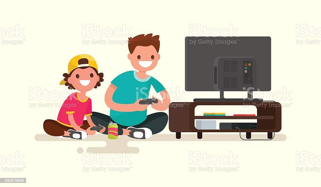 Father and son playing video games on  game console. vector art illustration