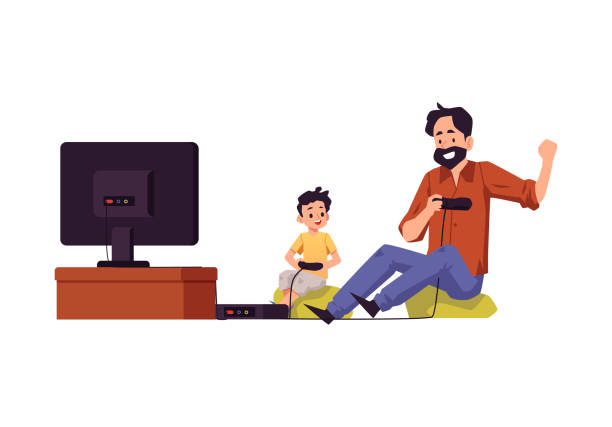ilustrações de stock, clip art, desenhos animados e ícones de father and son playing video games together flat vector illustration isolated. - man joystick