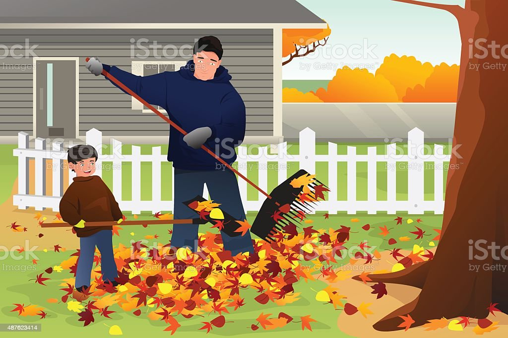 Father and Son Raking Leaves During Fall Season vector art illustration
