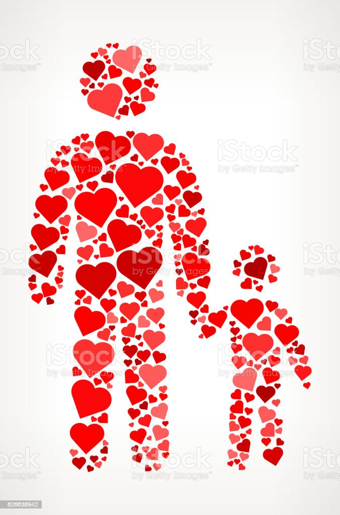 Father and Son Red Hearts Love Pattern – Vektorgrafik