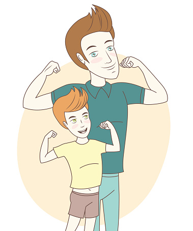 997711042 istock photo Father and son showing biceps. Hand drawn style 475461718
