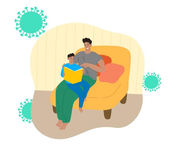 stockillustraties, clipart, cartoons en iconen met vader en zoon die thuis blijven en voor bescherming tegen coronavirusbesmetting lezen - avondklok