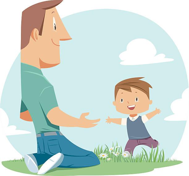 ilustraciones, imágenes clip art, dibujos animados e iconos de stock de padre e hijo - hijo