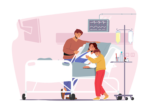 Father and Son Visiting Sick Mother with Arm Fracture. Female Patient Character Apply Treatment in Traumatology Hospital