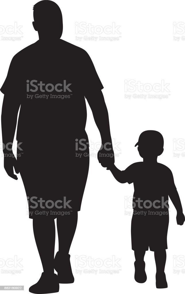 father and son walking silhouette royalty free stock vector art