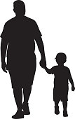 Vector silhouette of a father walking with his son while holding hands.