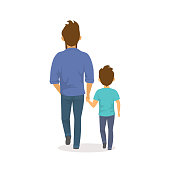 father and son walking together holding hands,happy  fathers day back side view isolated vector illustration scene